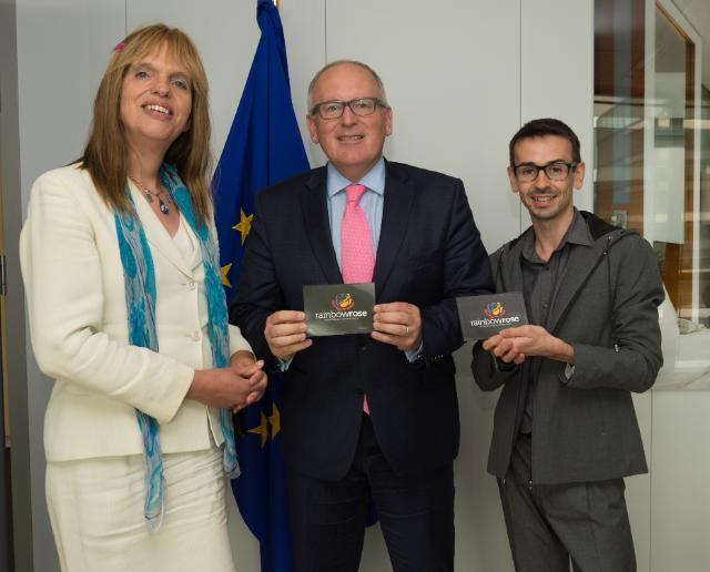 Frans Timmermans receives Aurélien Mazuy, président de Rainbow Rose