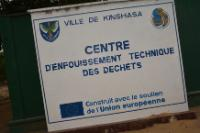 An information sign at the entrance to the technical center of landfill waste in Kinshasa, built with the help of the EU
