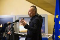 Opening of the exhibition of a model of the Solar Impulse, in the presence of Maroš Šefčovič, Vice-President of the EC, and Bertrand Piccard, President and Initiator of the Solar Impulse project