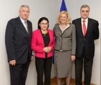 Visit of Ecaterina Andronescu, President of the Committee for Education, Science, Youth and Sport of the Romanian Senate, and Ioanel Sinescu, Rector of Carol Davila University of Medicine and Pharmacy of Bucharest, to the EC