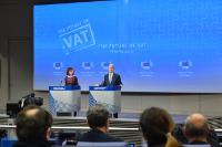 Conférence de presse de Pierre Moscovici, membre de la CE, sur le paquet pour une fiscalité plus juste