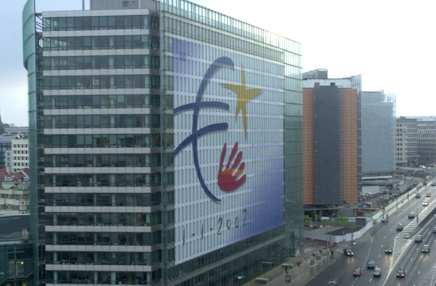 The Charlemagne building decorated with the euro logo