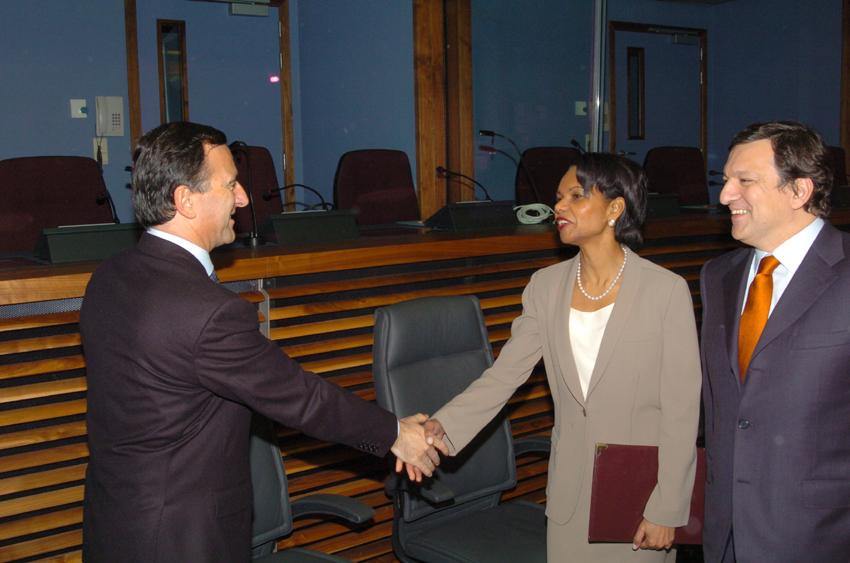 Visite de Condoleezza Rice, secrétaire d'État américaine, à la CE