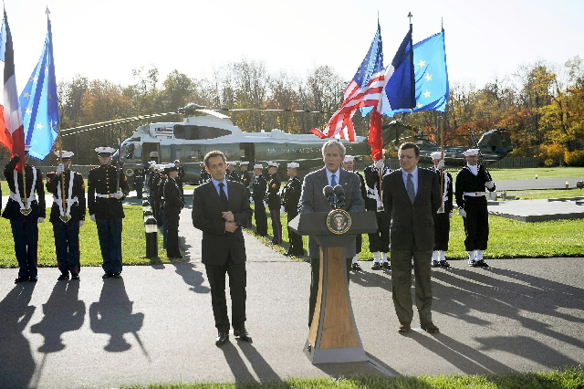 Visit of José Manuel Barroso, President of the EC and Nicolas Sarkozy, President in office of the Council of the EU, to Camp David