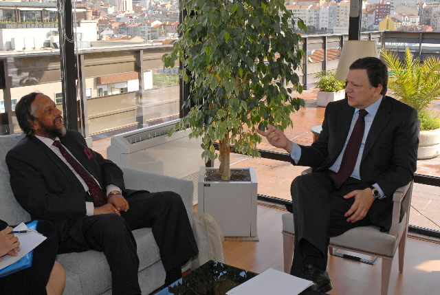 Meeting between José Manuel Barroso, President of the EC, and Rajendra Pachauri, Chairman of the IPCC
