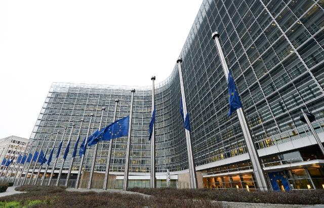 European flags fly at half-mast to pay tribute to Charlie Hebdo
