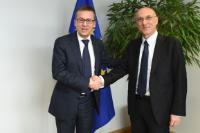 "Illustration of ""Visit of Pietro Di Lorenzo, President of IRBM Science Park, and Antonio Tajani, Vice-President of the EP,..."