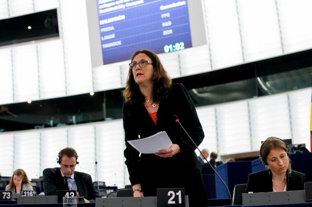 """Illustration of """"Participation of the Members of the College of the Juncker Commission at the EP plenary session of..."""