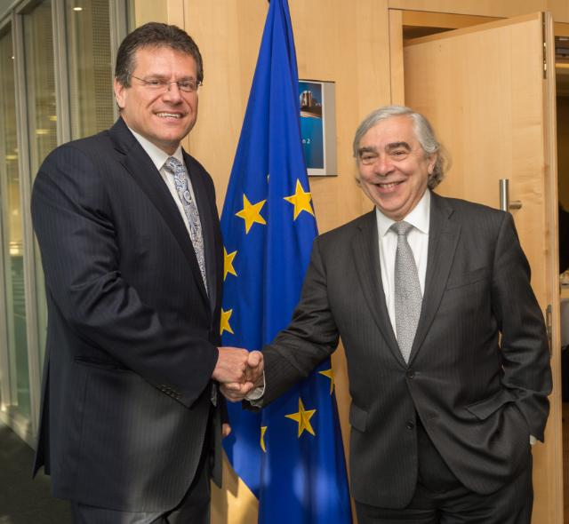 Maroš Šefčovič receives Ernest Moniz, US Secretary for Energy