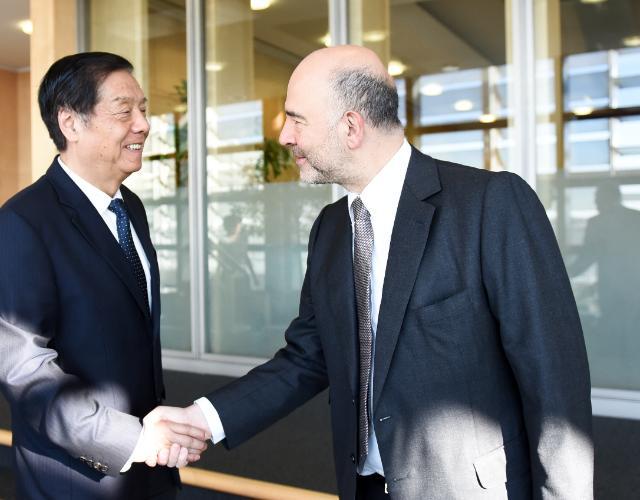 Pierre Moscovici reçoit Yu Guangzhou, ministre chinois chargé de l'Administration générale des Douanes