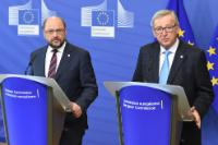 Joint press conference by Jean-Claude Juncker, President of the EC, and Martin Schulz, President of the EP, ahead of the European Council meeting of 17 and 18 March 2016