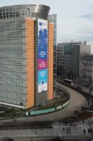 The Poster of the launch of the European Solidarity Corps on the Berlaymont Building