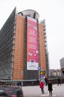 The Erasmus + for 30th birthday  banner on the Berlaymont building