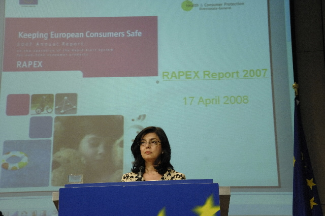 Press conference by Meglena Kuneva, Member of the EC, to present the RAPEX Annual Report 2007