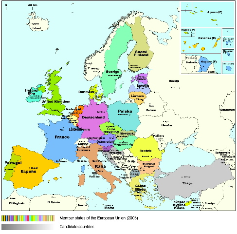Historical maps of the Member States of the EU in 2008
