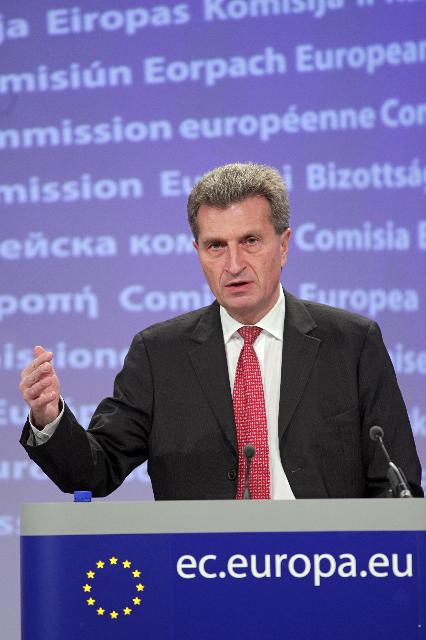 Press conference by Günther Oettinger, Member of the EC, on financing Renewable Energy