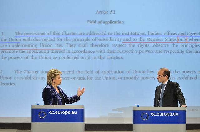Joint press conference by Viviane Reding, Vice-President of the EC, and Morten Kjærum, Director of the European Union Agency for Fundamental Rights, on the EU Charter of Fundamental Rights