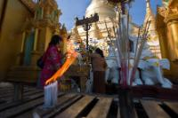 The Burmese go to the Pagoda to make their prayers and offerings