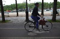 Parisian cyclist on bike paths