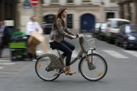 A Parisian cyclist using a shared bike