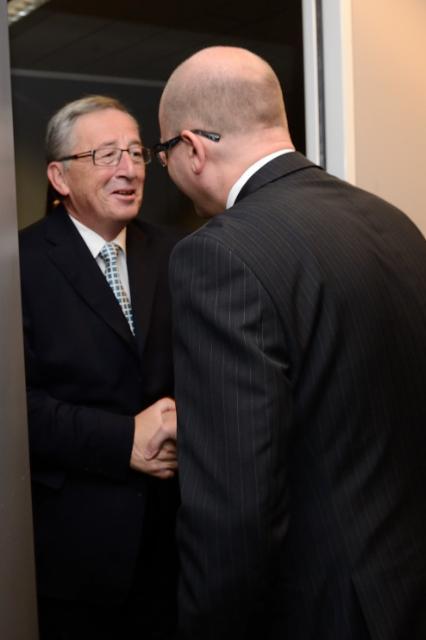 Rencontre entre Bohuslav Sobotka, Premier ministre tchèque, et Jean-Claude Juncker, président élu de la CE