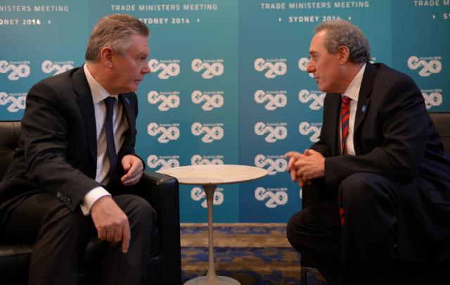 "Illustration of ""Meeting between Michael Froman, US Trade Representative, and Karel De Gucht, Member of the EC"""
