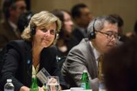 """Illustration of """"Participation of Connie Hedegaard, Member of the EC, at the 69th plenary session of the United Nations..."""