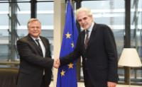 """Illustration of """"Visit of Costas Yannopoulos, Chairman of 'The smile of the child', to the EC"""""""