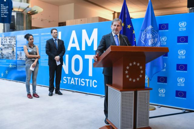 Opening of the photo exhibition entitled 'I Am Not a Statistic' organised at the EP, with the participation of Johannes Hahn, Member of the EC