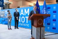 "Illustration of ""Opening of the photo exhibition entitled 'I Am Not a Statistic' organised at the EP, with the..."