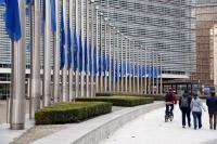 Drapeaux européens en berne en hommage aux victimes des attentats terroristes en France