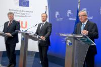Meeting between Petro Poroshenko, President of Ukraine, Jean-Claude Juncker, President of the EC, and Donald Tusk, President of the European Council