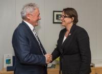 Visite de François Bellot, ministre belge de la Mobilité, chargé de Belgocontrol et de la Société nationale des chemins de fer belges, à la CE