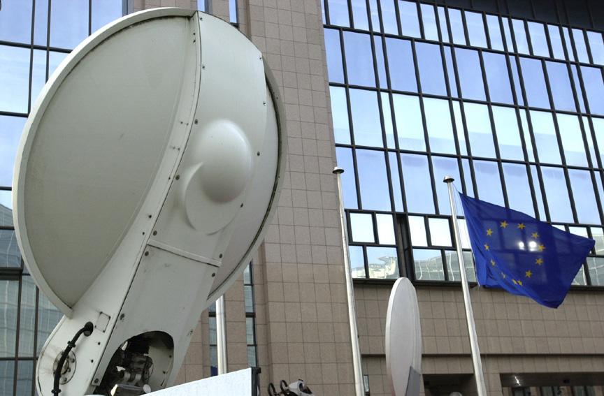 Parabolic antenna and European flag