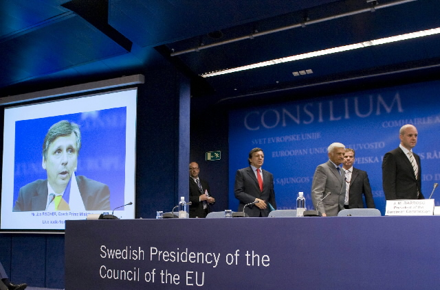 Joint press conference by José Manuel Barroso, Fredrik Reinfeldt, Jerzy Buzek and Jan Fischer on the Lisbon Treaty