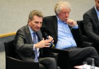 Günther Oettinger, on the left, and Jürgen K...