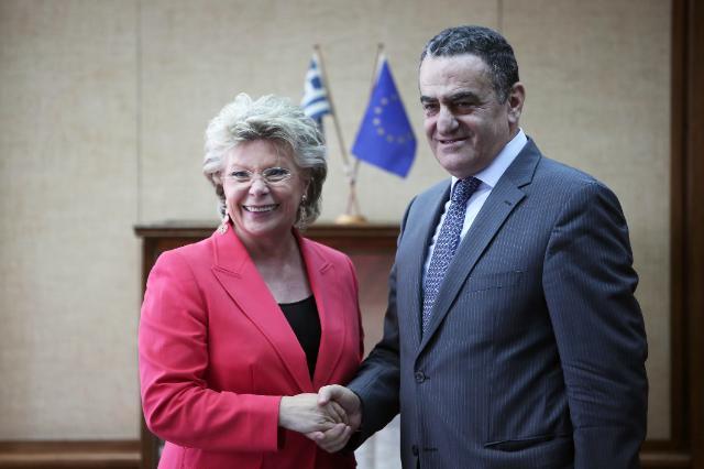 Visite de Viviane Reding, vice-présidente de la CE, en Grèce