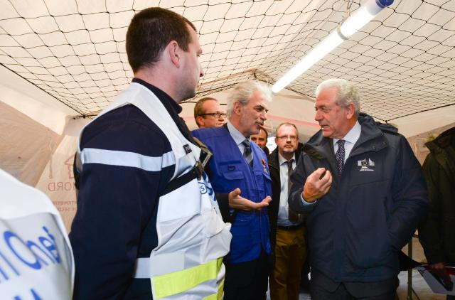 Participation of Dimitris Avramopoulos and Christos Stylianides, Members of the EC, and Jan Jambon, Belgian Deputy Prime Minister, at the ARETE 2014 civil protection exercise