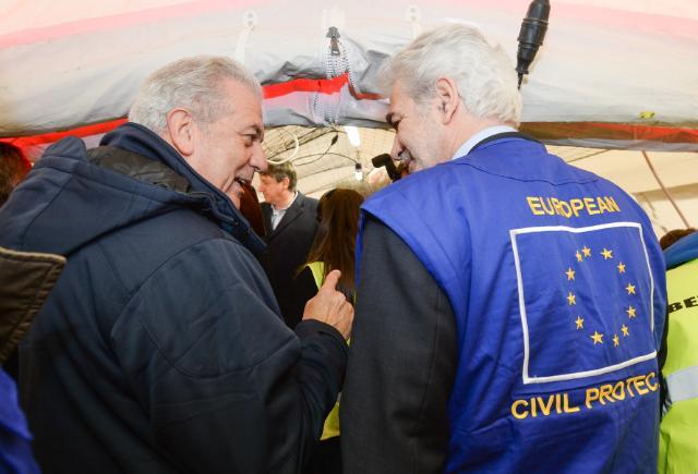 Participation de Dimitris Avramopoulos et Christos Stylianides, membres de la CE, et Jan Jambon, vice-Premier ministre belge, à l'exercice de simulation de la protection civile 'ARETE 2014'