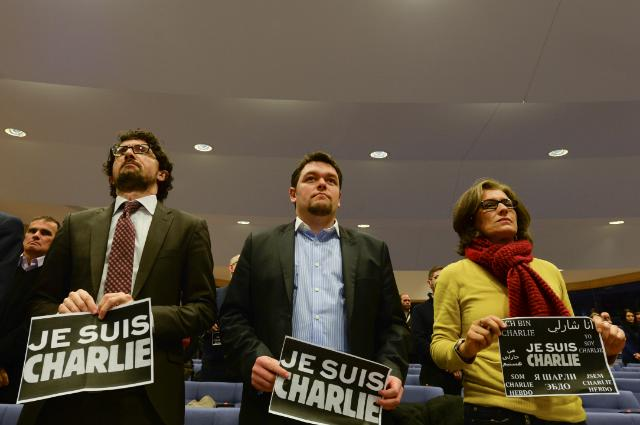 Minute of silence as a tribute to the victims of the terrorist attack at the headquarters of 'Charlie Hebdo', in Paris