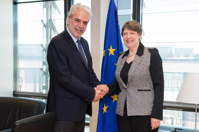 """Illustration of """"Visit of Helen Clark, Administrator of the UNDP, to the EC"""""""