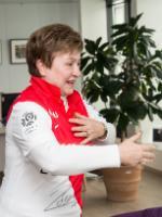 Kristalina Georgieva, wearing a football shirt with an autograph by Dimitar Berbatov