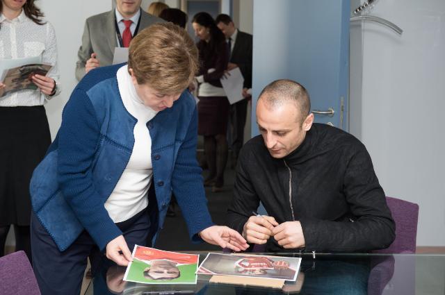 Kristalina Georgieva receives Dimitar Berbatov, Bulgarian professional football player