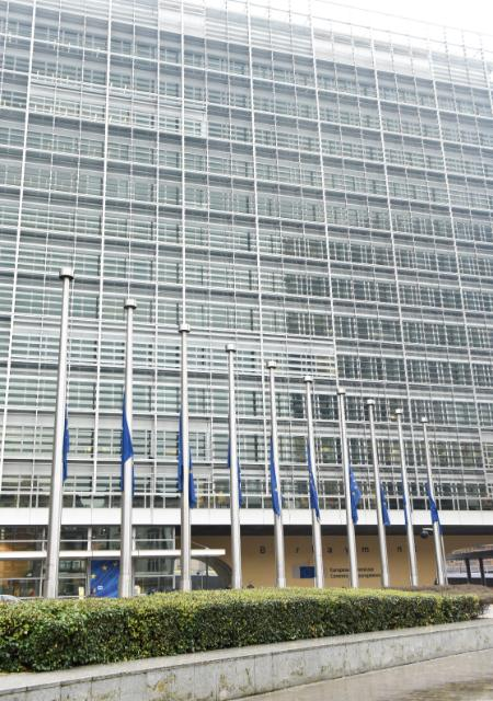 European flags fly at half-mast to pay tribute to the victims of the 'Germanwings' aeroplane crash in France