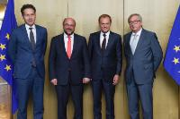 Participation of Jean-Claude Juncker, President of the EC, in a working lunch with Martin Schulz, President of the EP, Donald Tusk, President of the European Council, Jeroen Dijsselbloem, Dutch Minister for Finance and President of the Eurogroup, and Mario Draghi, President of the ECB