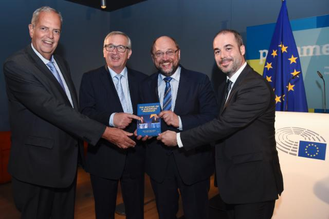 "Illustration of ""Participation of Jean-Claude Juncker and Martin Schulz, President of the EP at the presentation of Nereo..."