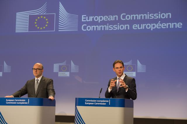 "Illustration of ""Joint press conference by Jyrki Katainen, Vice-President of the EC, and Pierre Moscovici, Member of the..."