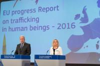Joint press conference by Dimitris Avramopoulos, Member of the EC, and Myria Vassiliadou on the publication of the report on Trafficking of Human Beings