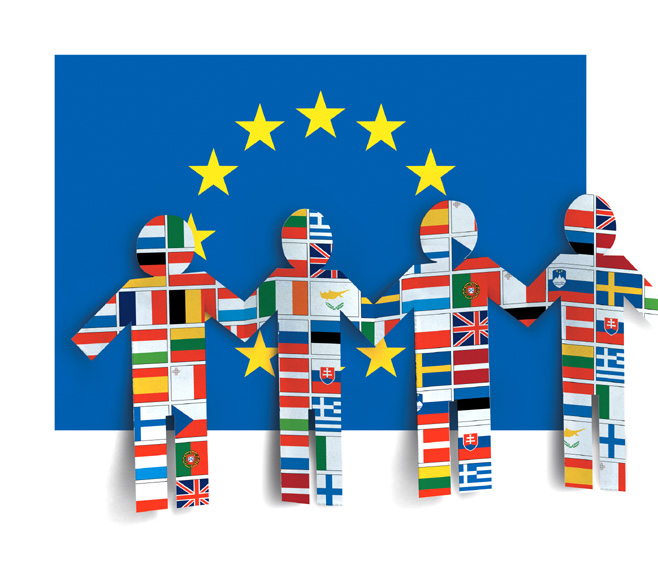 Figures formed by all the flags of the EU at 25 © EU