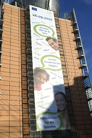 The poster for the European Day of Languages 2007, at the Berlaymont building